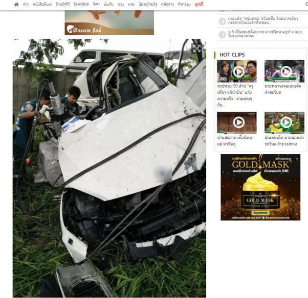 20岁泰国知名女童星出车祸撞树身亡 车体全毁