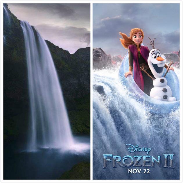 左图为塞里雅兰瀑布,右图为剧照