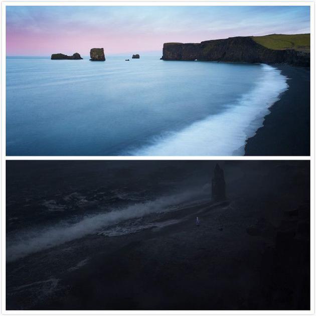 上图为冰岛南部海岸的黑沙滩,下图为剧照