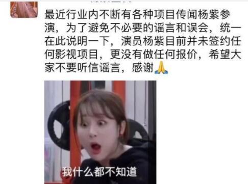 知情人否认杨紫参演网传影视剧