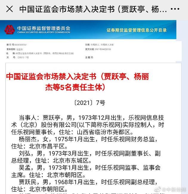 贾跃亭被终身证券市场禁入
