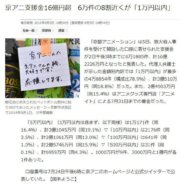 京阿尼官方账号已募集捐款约一亿人民币