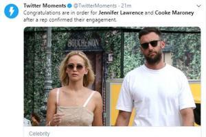 好莱坞女星大表姐詹妮弗-劳伦斯确认已和男友订婚 大钻戒超亮眼