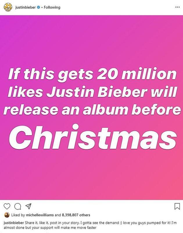 比伯新专辑集齐两千万赞就在圣诞前发布
