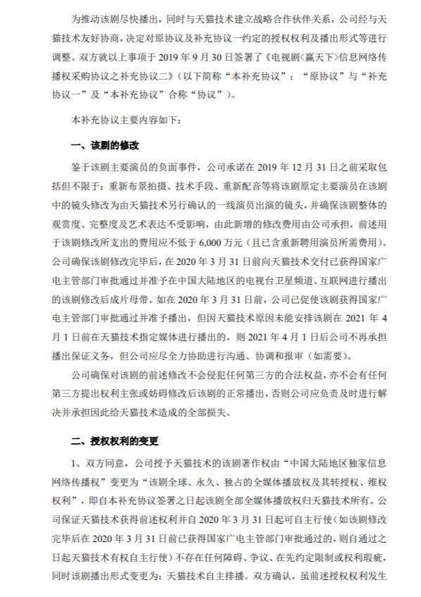 唐德影视公布了《关于签署重大合同补充协议的公告》