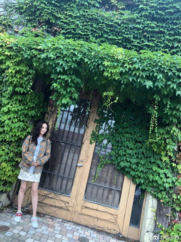 陈乔恩站在绿藤下秀长腿 糖果色穿搭满满少女感