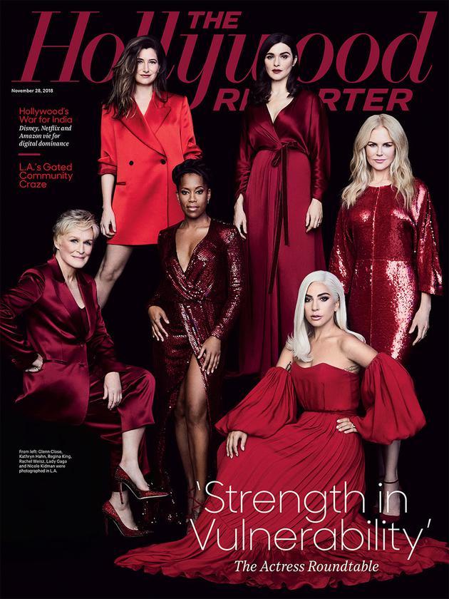 6位重磅女演员红衣亮相,L adyGaga、妮可·基德曼、蕾切尔·薇姿、凯瑟琳·哈恩、格伦·克洛斯和瑞加纳·金一首拍摄封面大片。