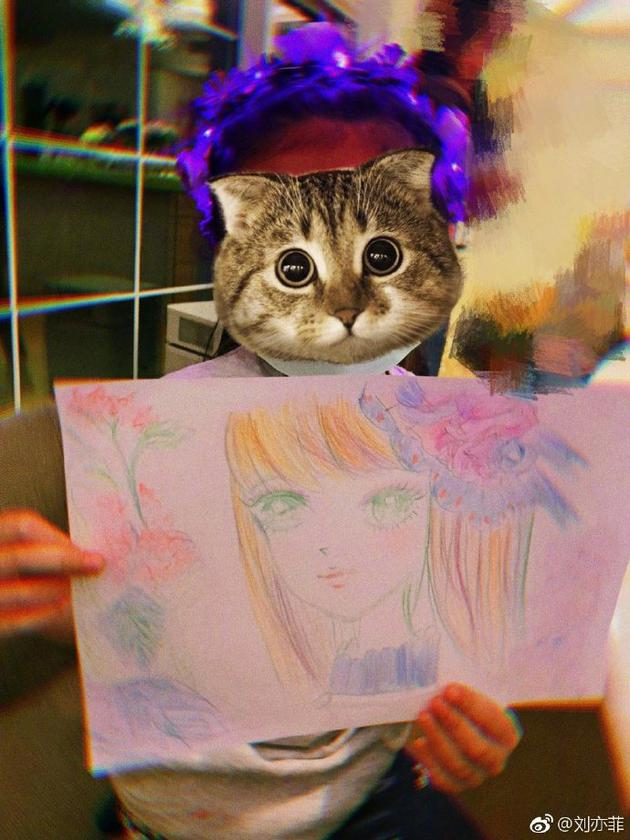刘亦菲分享手绘作品 日系少女头像配色斑斓似彩虹
