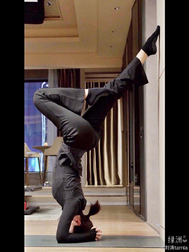 刘涛绿洲练瑜伽撑地倒立腰肢柔软纤细动作超优美