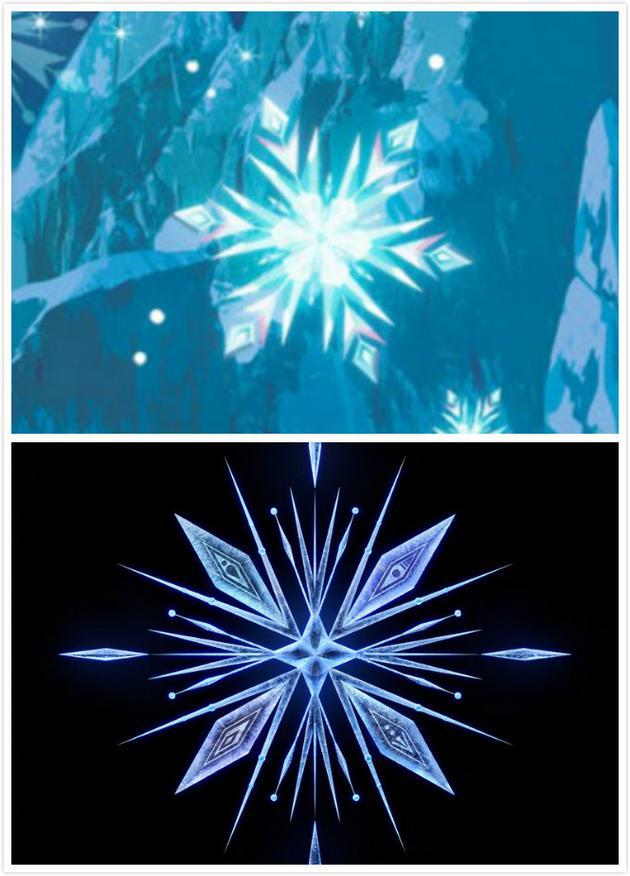 上下图别离为《冰雪奇缘》与《冰雪奇缘2》中的雪花。