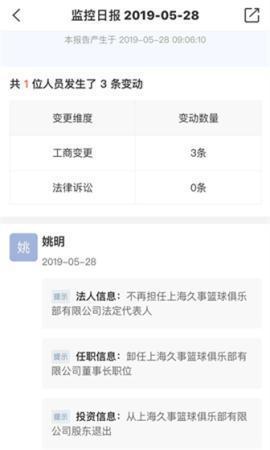 姚明不再担任上海久事篮球俱笑部有限公司法定代外人(图源网络)