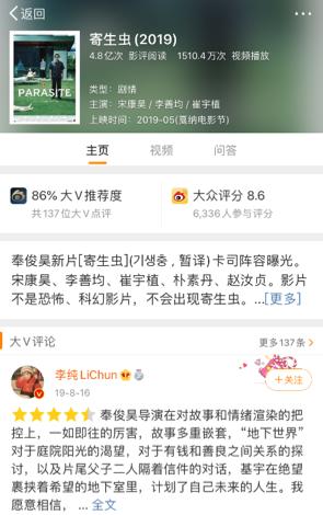 (截止3月1日,《寄生虫》大V推荐度为86%)