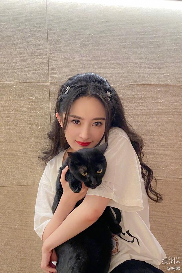 杨幂晒与爱猫小黑合照 身穿黑色裤子沾满猫毛