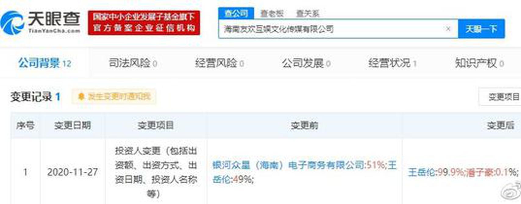 李湘关联公司投资人工商变更 王岳伦成最大股东