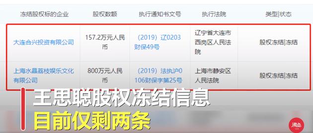 王思聪股权陆续解冻 目前仅剩余2家公司未解冻