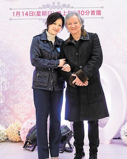 陈慧珊(左)和丈夫钟家鸿难得合照,她表示夫妻关系一直很好