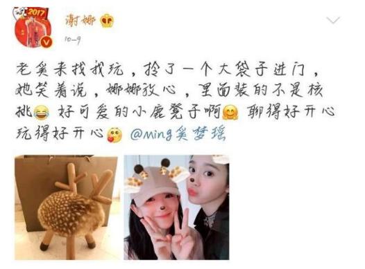 奚梦瑶送给谢娜孩子的礼物是个可爱的小鹿凳子。