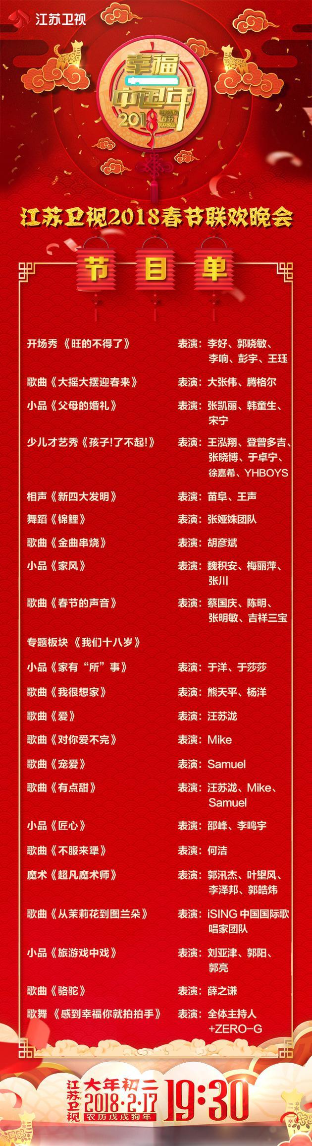 """(注:請附江蘇衛視2018""""幸福中國年""""春節聯歡晚會節目單)圖片"""