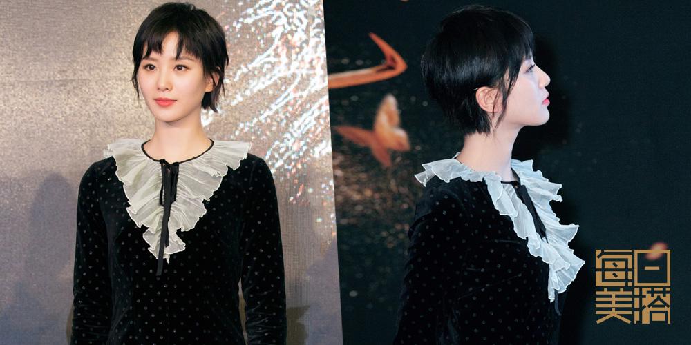 刘诗诗丝绒连衣裙灵动俏皮 黑色丝绒裙复古又不失少女感