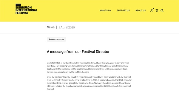 愛丁堡國際藝術節官網截屏圖