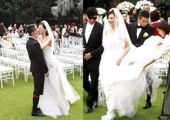 向来平底鞋走遍天下的范范,婚礼上依旧选择了白色球鞋。