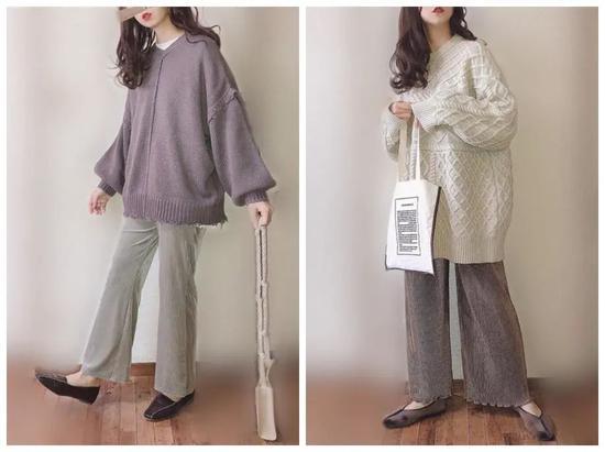 针织裤+设计感上衣=时髦洋气