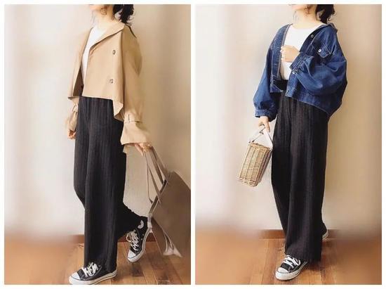 针织裤+长毛衣=慵懒随性