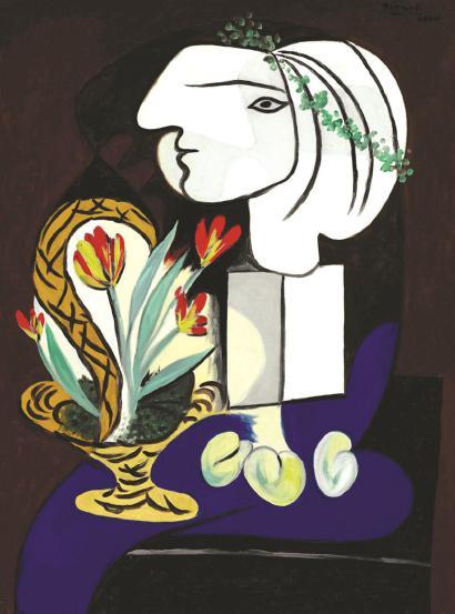 毕加索《郁金香与女孩》
