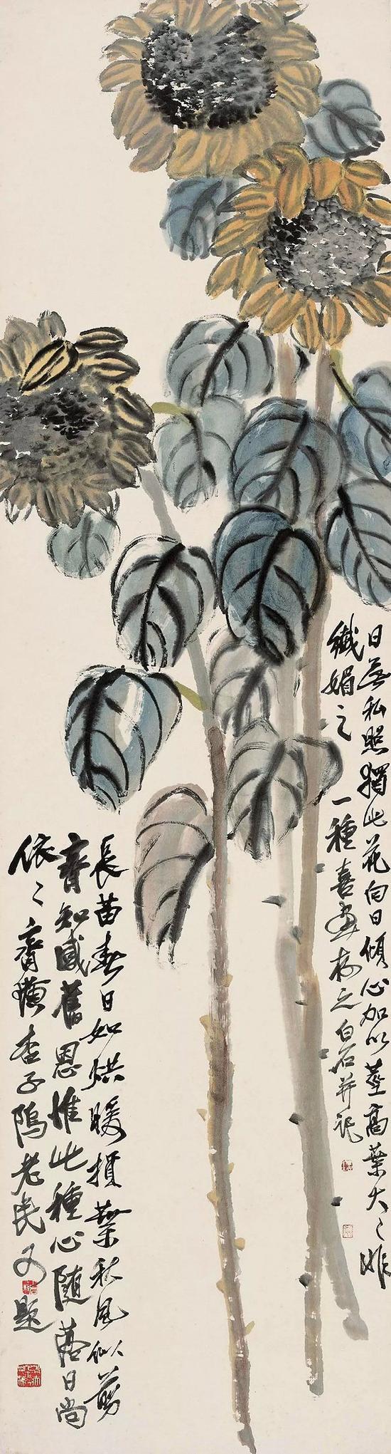 1951年齊白石《向日葵》(2013年中國嘉德春拍 成交價:1552.5萬元)