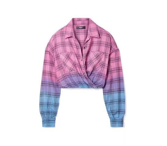AMIRI包裹式渐变格纹衬衫
