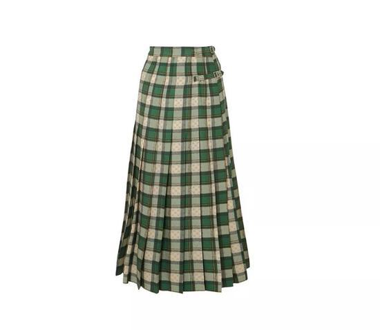 GUCCI格纹褶皱半身裙