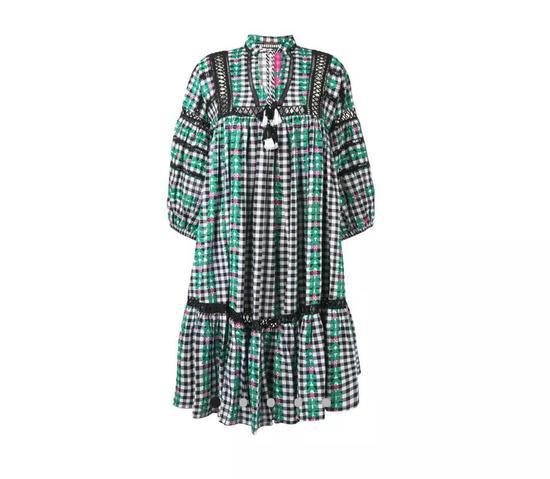 DODO BAR OR刺绣印花格纹连衣裙