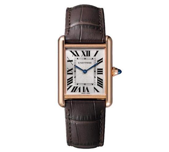 卡地亚 Tank Louis Cartier铺天盖地腕表。大号表款,18K玫瑰金,皮表带