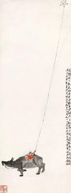 1952年 齊白石《紅衣牛背雨絲絲》(圖片來源中國美術館)