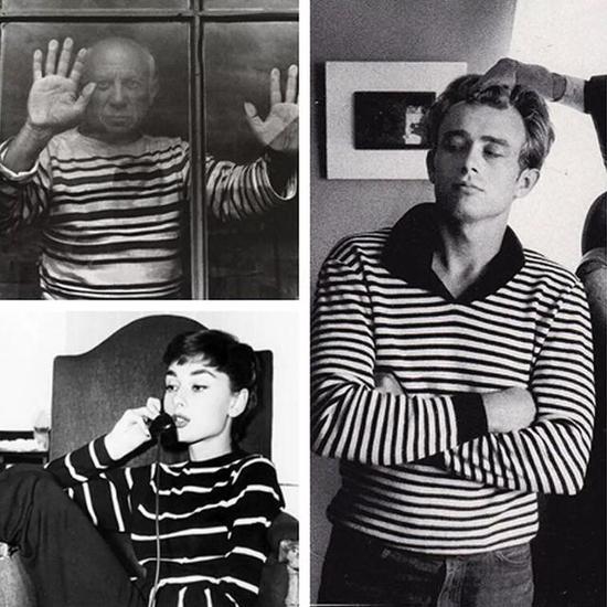 咱熟悉的奥黛丽赫本、James Dean、毕加索等等艺术家都通过海魂衫。