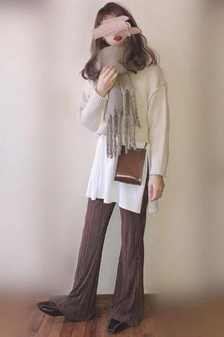 针织裤+针织衫=温柔淑女