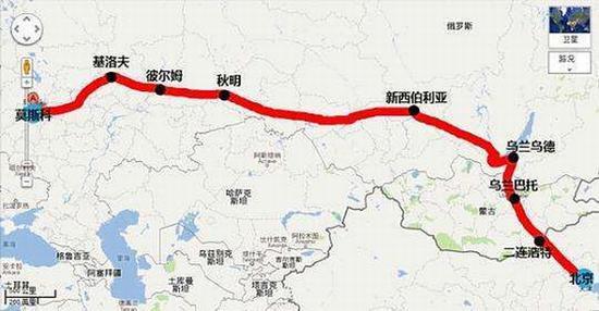 K3次国际列车路线图 图片源自豆瓣