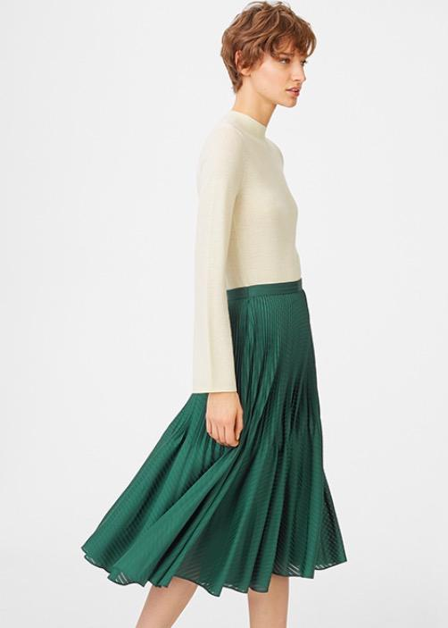 绿色百褶半身裙 Club Monaco
