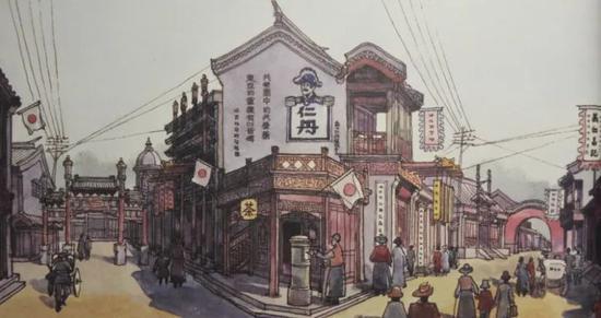 ▸杨占家《霸王别姬》明清街气氛图设计稿