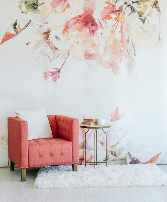 水墨花朵在墙上绽开 图片源自www.luluandgeorgia.com