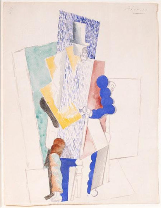 毕加索,《 L'Homme au Gibus》,1914