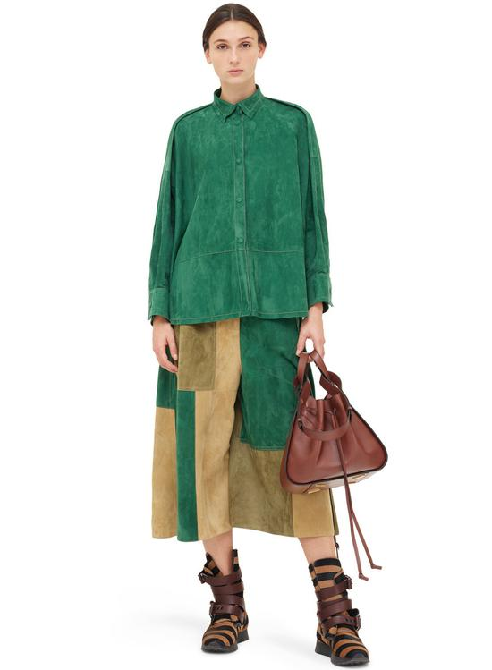 绿色廓形绒面革衬衫 Loewe