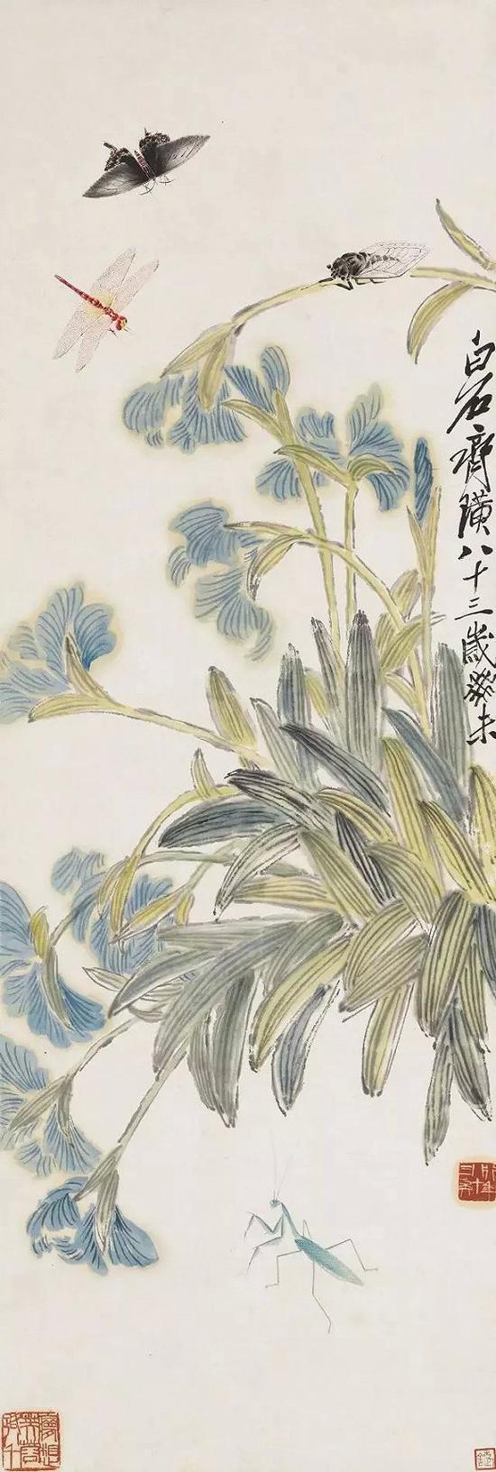 1943年齊白石《工蟲鳶尾花》(2013年嘉德春拍 成交價:1840萬元)