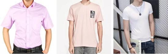 �修身款的短袖衬衫、便男士T恤和严密款T恤对比