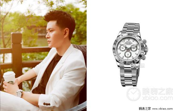 黄宥明佩戴劳力士宇宙计型迪通拿系列116520-78590 白盘腕表(白钢迪)