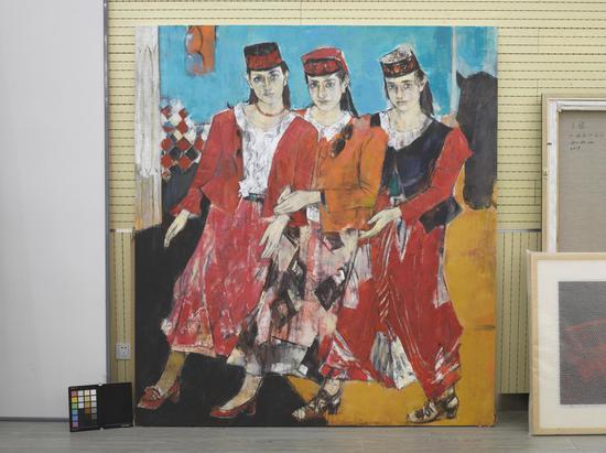 張曙光《高原姐妹》200cmx180cm油畫2019年