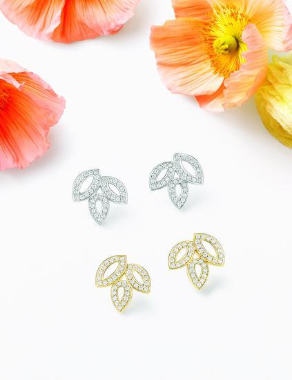 海瑞温斯顿百合锦簇Lily Cluster计划珠宝系列钻石铂金戒指与钻石黄金戒指