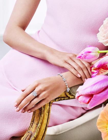 海瑞温斯顿勿忘我Forget-Me-Not铺天盖地钻石戒指与钻石手链