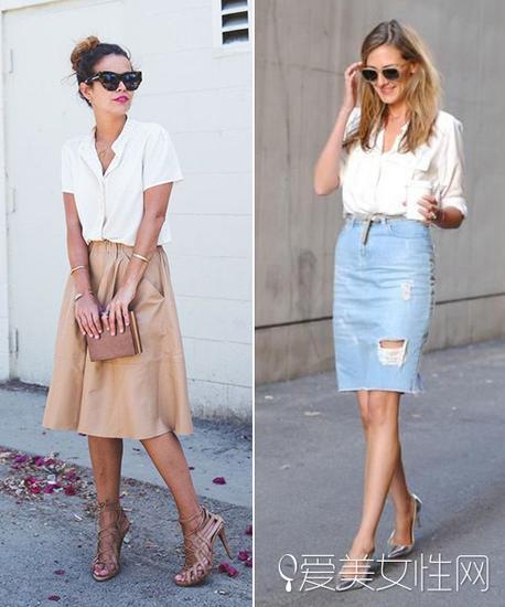 模特示範白襯衫搭配半裙穿法