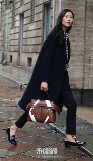 黑色大衣外套+格子襯衫
